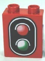 76371pb001-5 DUPLO steen 1x2x2 Signaal rood NIEUW *