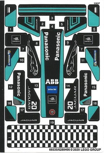 76898stk01-1 STICKER 76898-1 Formula E Panasonic Jaguar GEN2 & Jaguar I-PACE e-Trophy NIEUW *0S0000