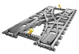 7996-85 Trein, Rails RC kruising (met wissels) en hendels (zeldzaam, niet meer bij LEGO te koop) Grijs,donker-blauwachtig NIEUW loc
