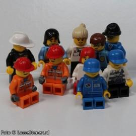 MINI10MIX NIEUW:: 10 Assorti minifigs MIX&MATCH, 10 hoofddeksels/haar, hoofden, torso's en benen, gevarieerd. NIEUW loc