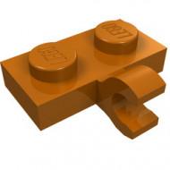 11476-68 Platte plaat 1x2 met horizontale clip LANGE einde oranje, donker NIEUW *1L0000