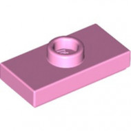 15573-104 Platte plaat 1x2 met 1 nop (loc 01-5) roze, helder NIEUW *1L233/11