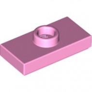 15573-104 Platte plaat 1x2 met 1 nop (loc 01-5) roze, helder NIEUW loc