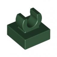 15712-80 Tegel 1x1 met clip bovenop afgeronde hoeken groen, donker NIEUW *1L288/4