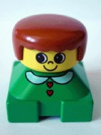 2327pb06 Duplo 2 x 2 x 2 Figure Brick, Green Base with White Collar and Red Heart Buttons, Yellow Head, Dark Orange Female Hair loc