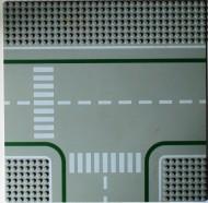 2360P01-9 Wegenplaat 32x32 afsplitsing MET FIETSPAD lichtgrijs (klassiek) NIEUW *3K000