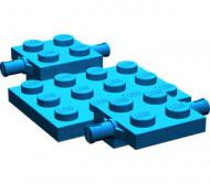 2441-7G Bodemplaat met wielhouders 7x4x2/3 blauw gebruikt *3D000