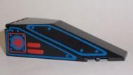 2507pb04-11G Cockpit glas 10x4x2 1/3 met blauwe lijnen zwart gebruikt *3L0000