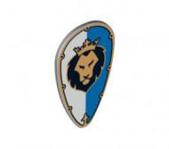 2586pb006-86 Schild ovaal kop leeuw wit/blauw Grijs, licht NIEUW loc