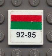 3068bpb0212-1G Tegel 2x2 Octan rode en groene streep '92-95' Wit gebruikt loc