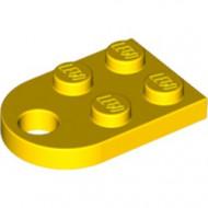 3176-3 Platte plaat 2x2 met gat voor trekhaak (oog) geel NIEUW *1B234