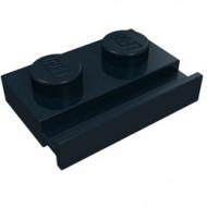 32028-11G Platte plaat 1x2 met deurrail zwart gebruikt *1D011