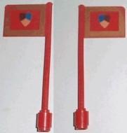 3596px1-5G Vlag op vlaggemast, recht (klassiek) Riddertoernooi rood gebruikt *