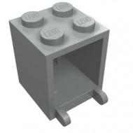 4345a-9G Box 2x2x2 opening voorkant dichte noppen lichtgrijs (klassiek) gebruikt *5K000