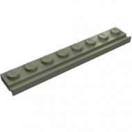 4510-10 Platte plaat 1x8 met deurrail/dakgoot donker, grijs (klassiek) NIEUW *1L291/6