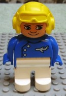 4555pb057 Duplo Figure, Male, White Legs, Blue Top with Plane Logo, Yellow Aviator Helmet, (Pilot) loc
