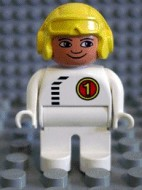 4555pb066 Duplo Figure, Male, White Legs, White Top with Black Zipper and Racer #1, Yellow Aviator Helmet *