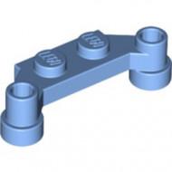 4590-42 Platte plaat 1x4 offset (plaat 2 x1+gaten links en rechts) blauw, midden NIEUW *1L319