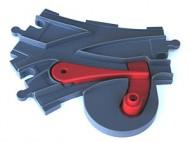 51943c01-85G DUPLO Treinrail wissel nieuwe type rode hendel grijs, donker (blauwachtig) gebruikt *