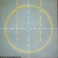6099px2-9G Basisplaat 32x32 landingpaats gele circel lichtgrijs (klassiek) NIEUW *3K000
