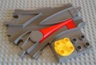 6379c01-85G DUPLO Treinrail wissel gele draaiknop donker, grijs (klassiek) gebruikt *