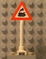 649pb06a-1G Verkeersbord- Onbewaakte spoorwegovergang trein MET RAAM STAAND wit gebruikt *