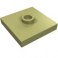 87580-155 Platte plaat 2x2 1 centrale nop groen, olijf NIEUW *1L235