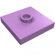 87580-157 Platte plaat 2x2 1 centrale nop lavender, midden NIEUW *1L0000