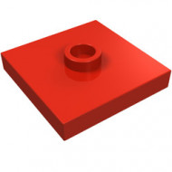 87580-5 Platte plaat 2x2 1 centrale nop rood NIEUW *1L0000