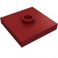 87580-59 Platte plaat 2x2 1 centrale nop rood, donker NIEUW *1L235
