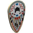 2586pw1-2G Schild ovaal veren en HELM (Indianen) Crème gebruikt loc