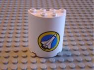 6259pb004-1G Cylinder, half 4x4x2 Space Shuttle Wit NIEUW loc