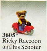 Set 3605-G - Fabuland: Ricky Racoon on his scooter -/-/100%- gebruikt
