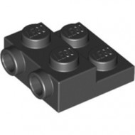 99206-11 Platte plaat 2x2x2/3 met 2 noppen zijkant zwart NIEUW *1L0325