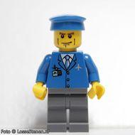 air039 Airport - Blauwe jas en das, blauwe pet, donkergrijsblauwe benen, strepen op wang NIEUW loc