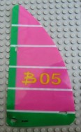 "bb729pb01-47G Zeil 10x19 Driehoek groene rand ""B05""(plastic) roze, donker gebruikt *5D000"