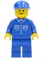 but007G Man, blauw overhemd met zakken en knopen, blauwe pet, blauwe benen gebruikt loc
