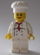 chef020G Chef -Vrouw rode lippen witte koksmuts wit pak met rode das witte benen gebruikt loc