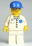 cty0017G Dokter- Blauwe pet met klep. Zilveren zonnebril, wit pak met blauw wmbleem, witte broek, gele handen gebruikt *0M0000