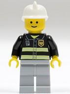 cty0035G Brandweerman witte helm lichtblauwgrijze benen classic grin gebruikt loc