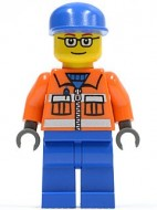 cty0053G Blauwe pet, bril, oranje overall, blauwe broek gebruikt *0M0000