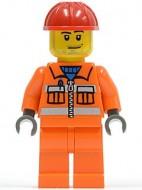 cty0113 Bouwvakker, oranje overall, veiligheidsstrepen, oranje benen, rode constructiehelm gebruikt loc