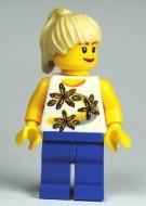 cty0130G Vrouw, creme pony, bloemenshirt, blauwe broek gebruikt loc
