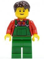 cty0161G Boer, zwart krullend haar, groene overall op rood hemd gebruikt loc