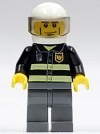 cty0303G Brandweerman, witte helm met visier, lijnen gebruikt loc