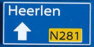 CUS1102 Routebord Heerlen N281 (2x4) blauw NIEUW *0A000