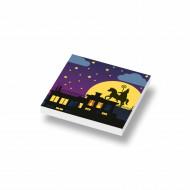 CUS5005 Tegel 2x2 SINTERKLAAS: Sinterklaas op 't dak wit NIEUW *0A000