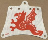 sailbb19-1G Zeil 12x10 met rode vliegende draak wit gebruikt *5D000
