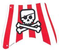 sailbb34-1G Piratenzeil 27x22 toprood/wit zwart doodshoofd wit gebruikt *5D000