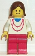 trn008G Rode ketting - rode benen, bruine Female Hair gebruikt loc